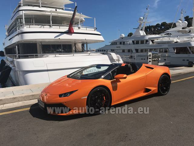 Hire and delivery to Starnberg the car Lamborghini Huracan Spyder Cabrio
