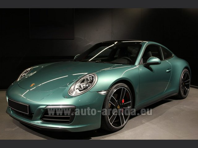 Hire and delivery to Rottach-Egern the car Porsche 911 991 4S Racinggreen Individual Sport Chrono
